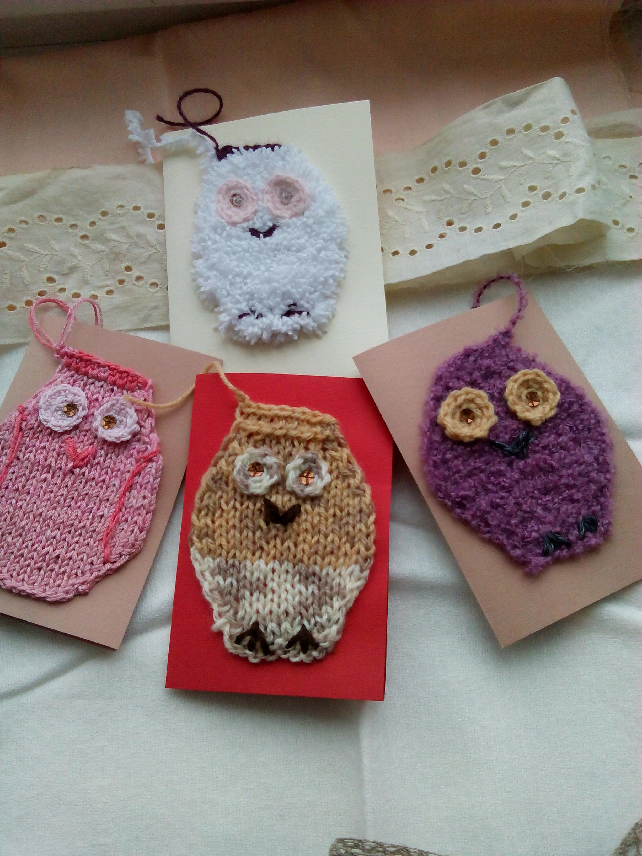 handmade christmas newyear owls greetings knit
