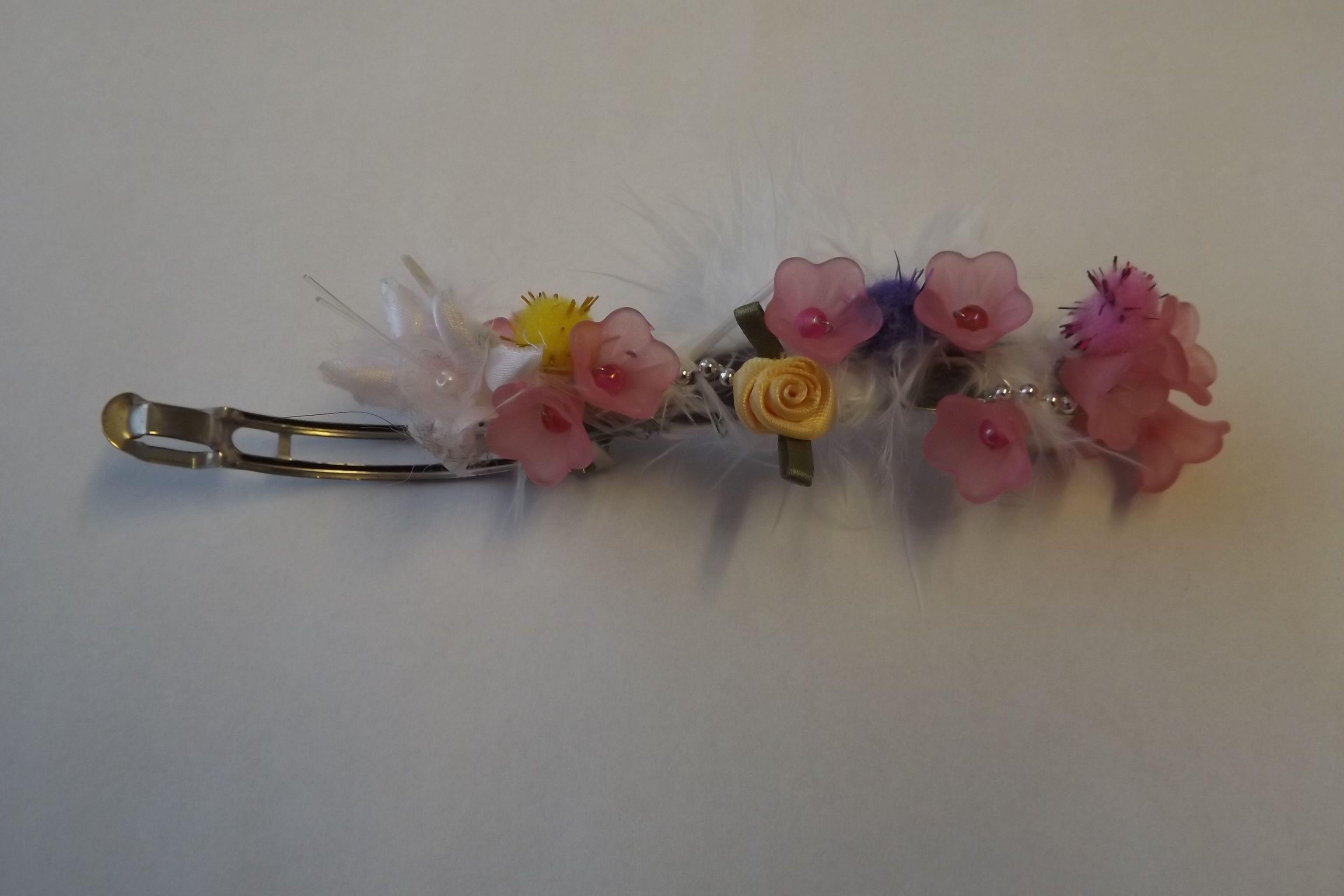 Beautiful Pink White Flower Hair Clip