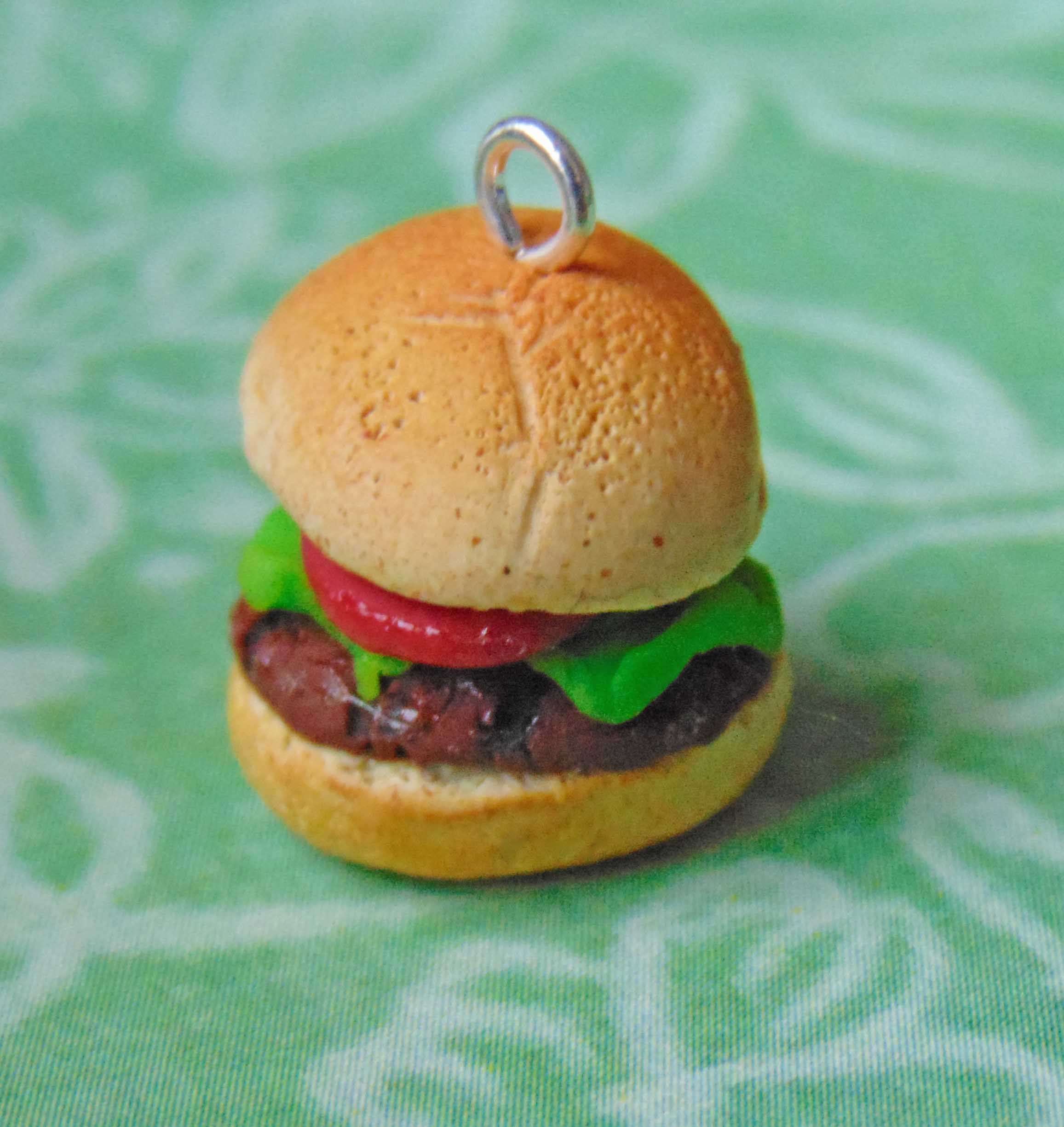 burger food charm cute handmade polymer clay handcrafted sculpey hamburger