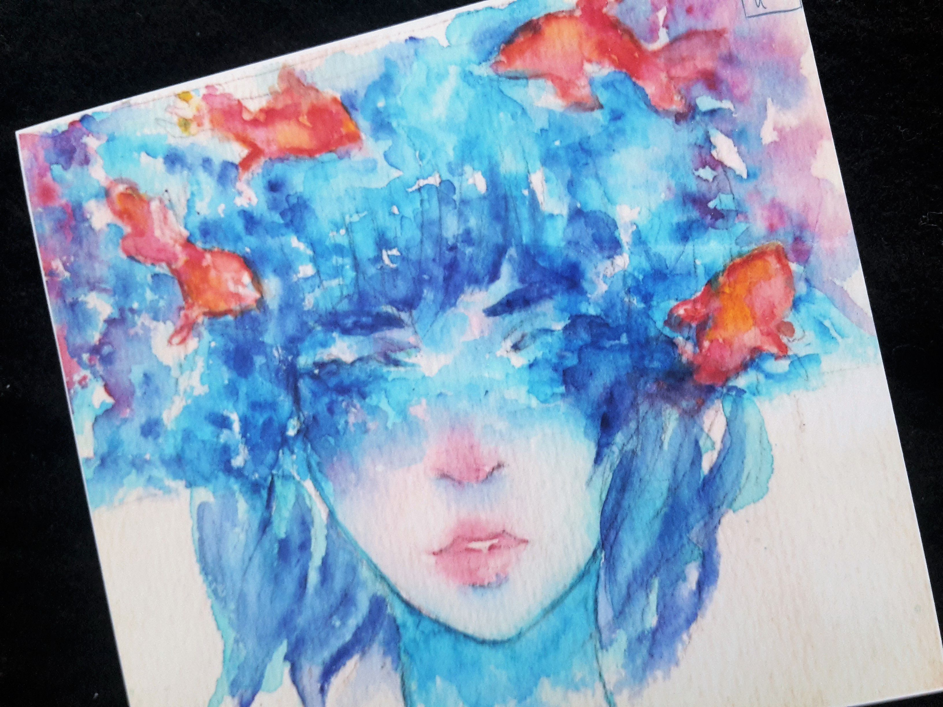 beautiful commission handmade painting portrait picture color illustration watercolor traditional artwork art artist