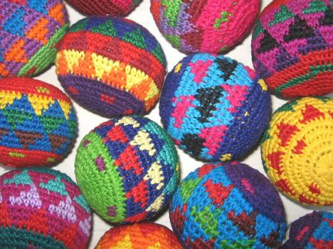 make textile hacky sack crochet goods
