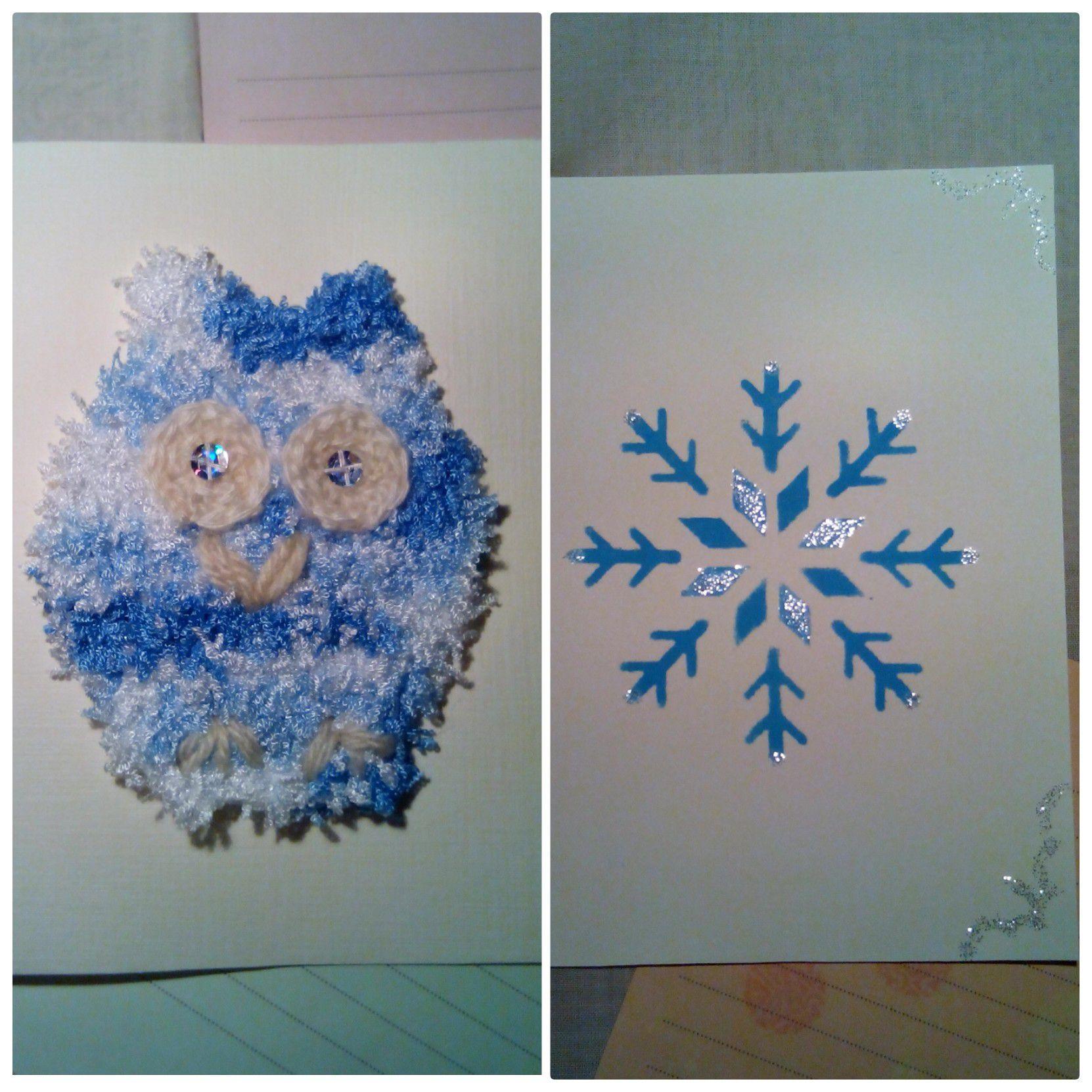 handmade christmas newyear owls gifts postcards knit