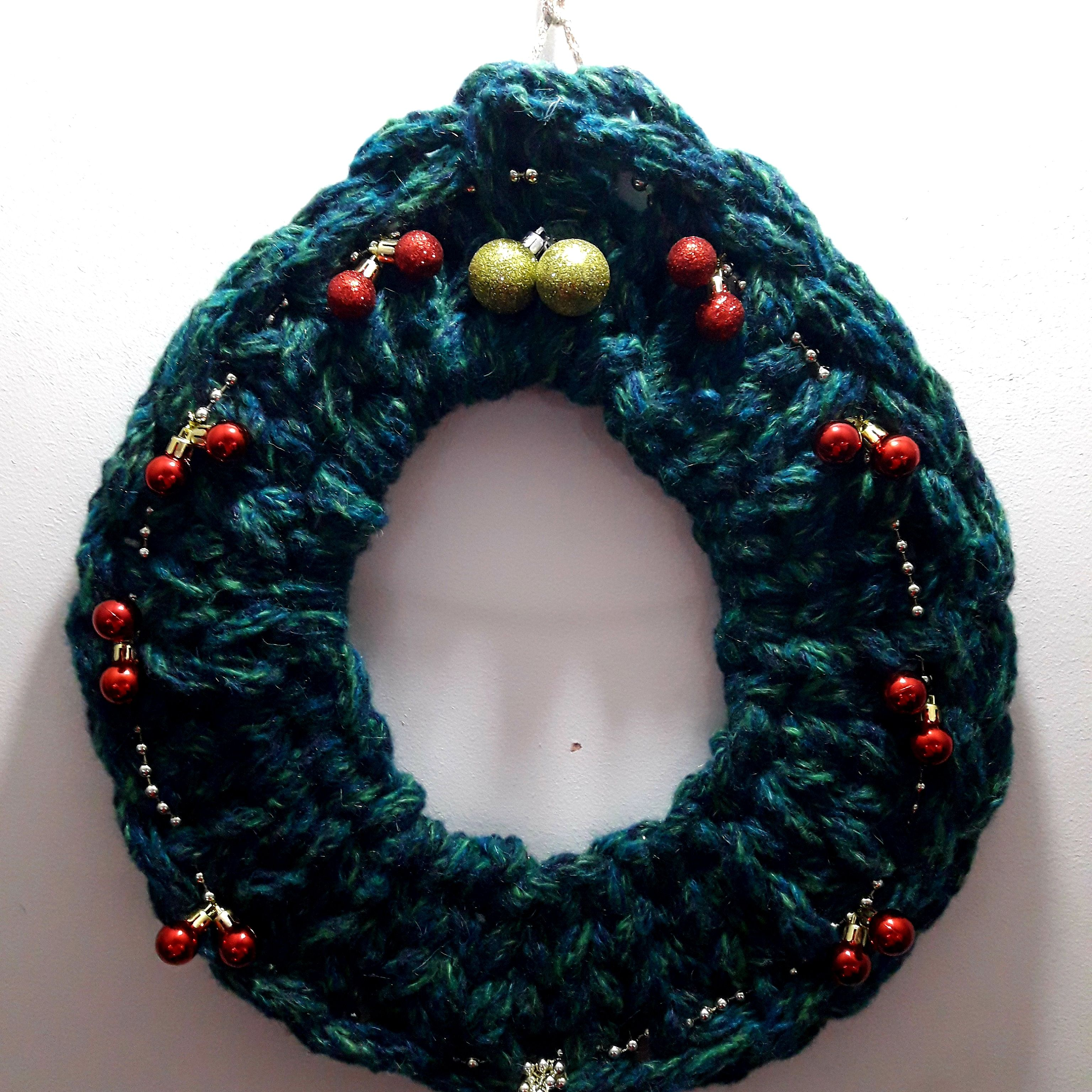 Fingers Knitted Christmas Wreath