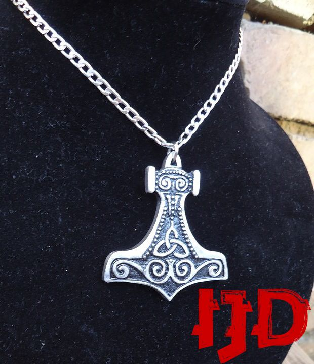 hammer thor viking pendant ornament celtic nordic medallion jewelry necklace silver pagan