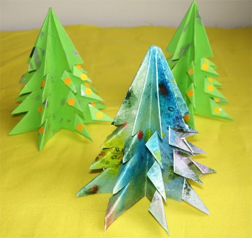 paper bend christmas origami tree