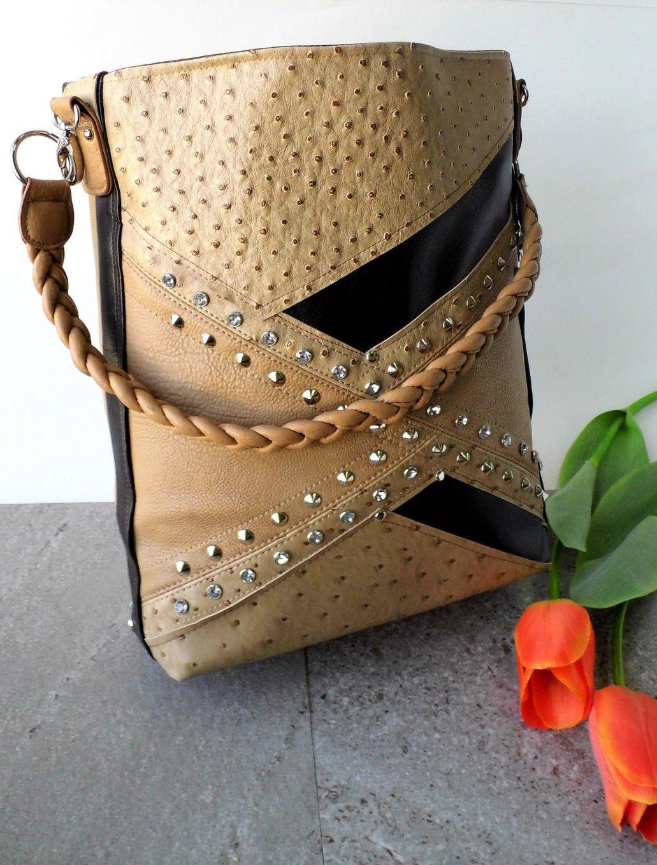 e37f3241a946 bag leather brown vegan twist shoulder hobo handle faux robe single  handmade diamonds studded