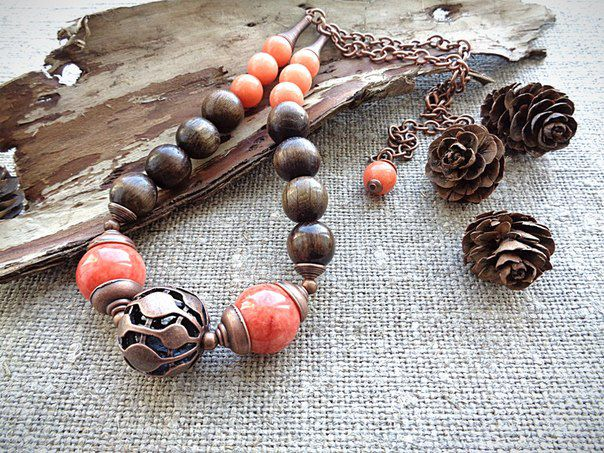 coral present jewelry beads wood