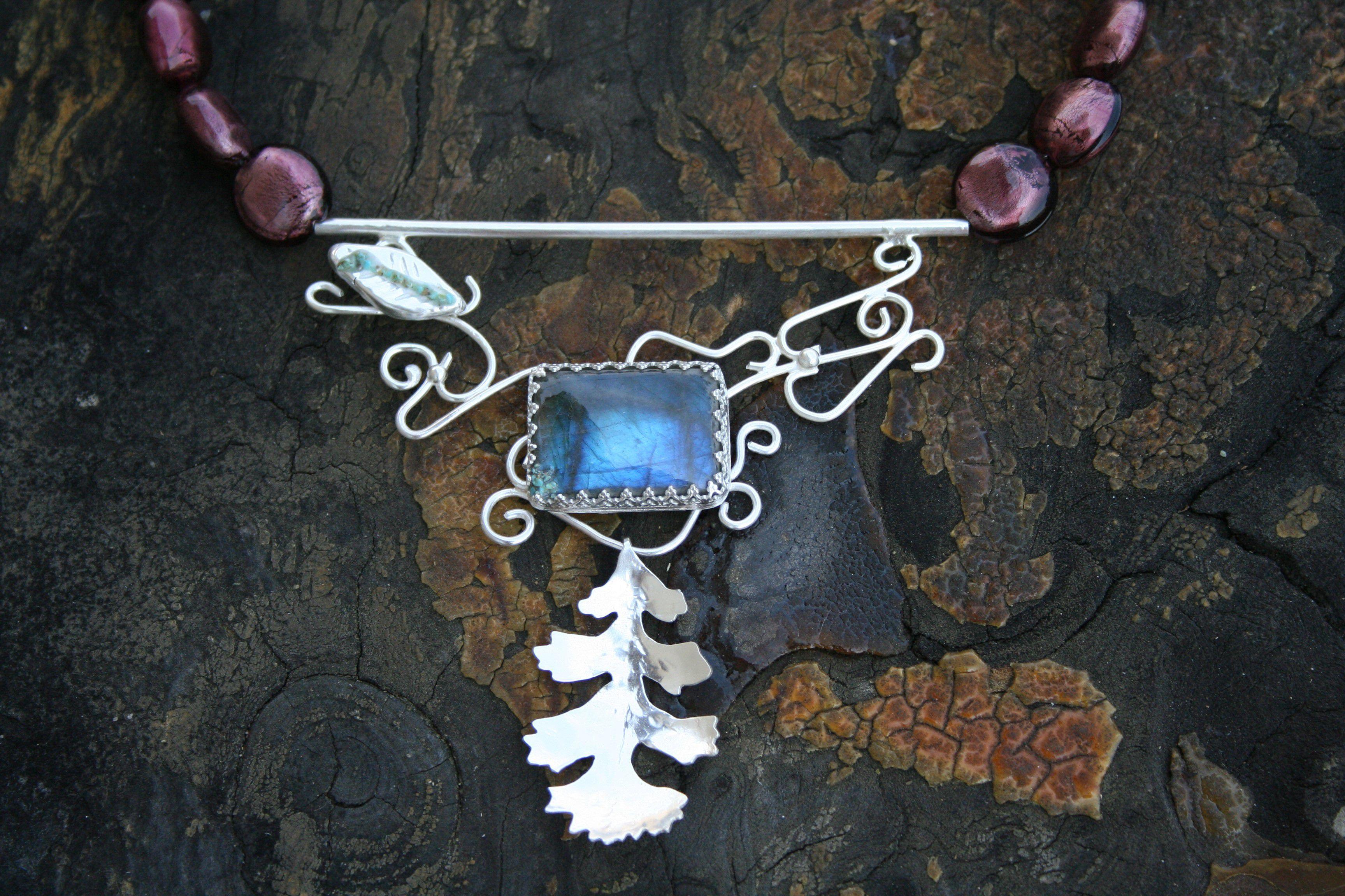 oak vintageglass oakleaves oakleaf turquoise jewelry necklace labradorite glassbeads purple