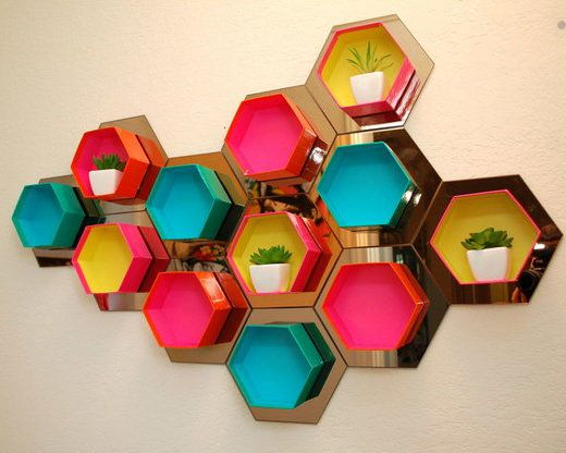 interior modern hexagon honeycomb shelf
