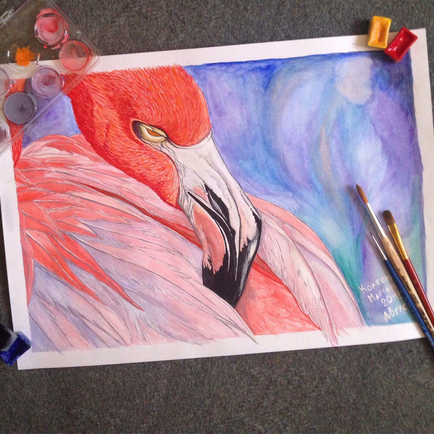 art painting interior flamingo watercolor