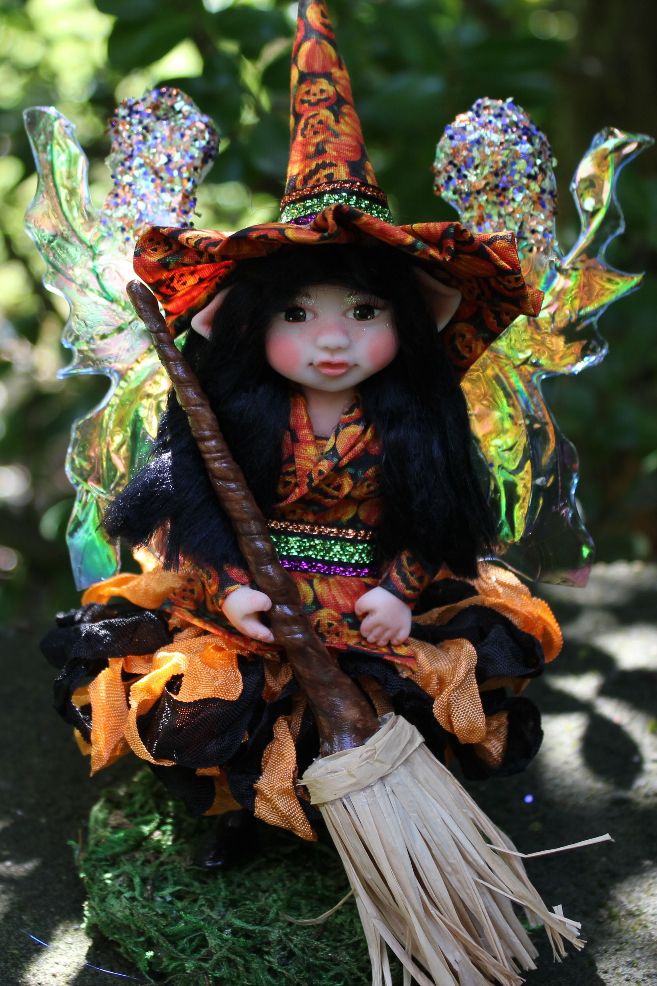 witch doll fairy decoration gift fall halloween polymer clay