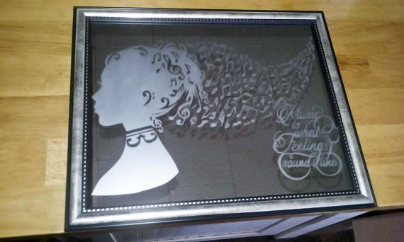 wallart etched etch walldecor mirrorart silhouette music musicislife ilovemusic musicnotes musical homedecor