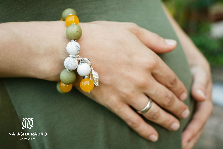 wristlet present silver cacholong jadeite