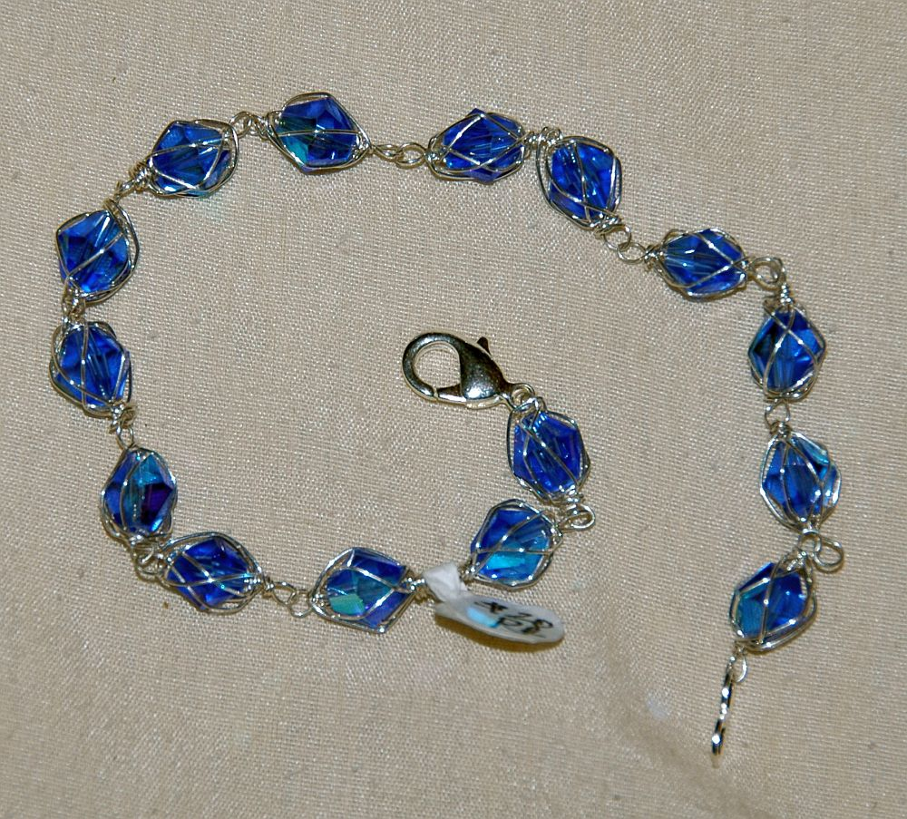 handmade silver crystal wrapped bracelet blue jewelry wire
