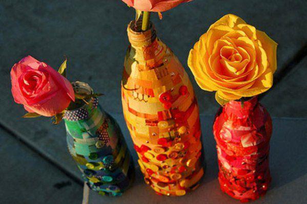 wine decorate bottles modern art