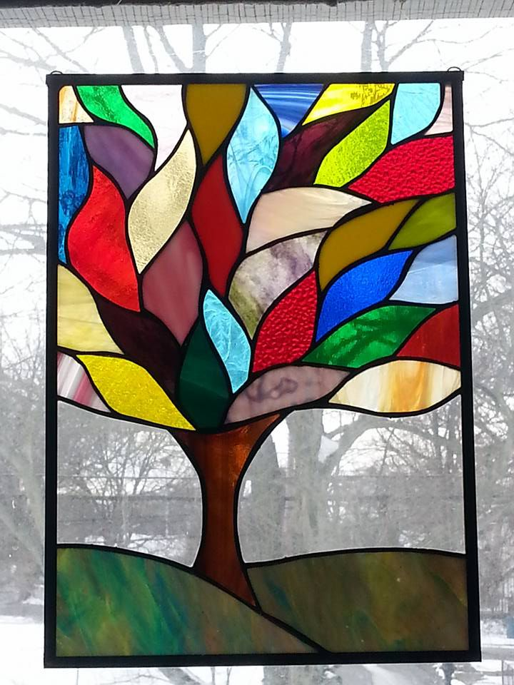 Stained Glass Window Art.Stained Glass Tree Leaded Glass Window Panel Art Deco Studio 27 Glass Hand Crafted Usa