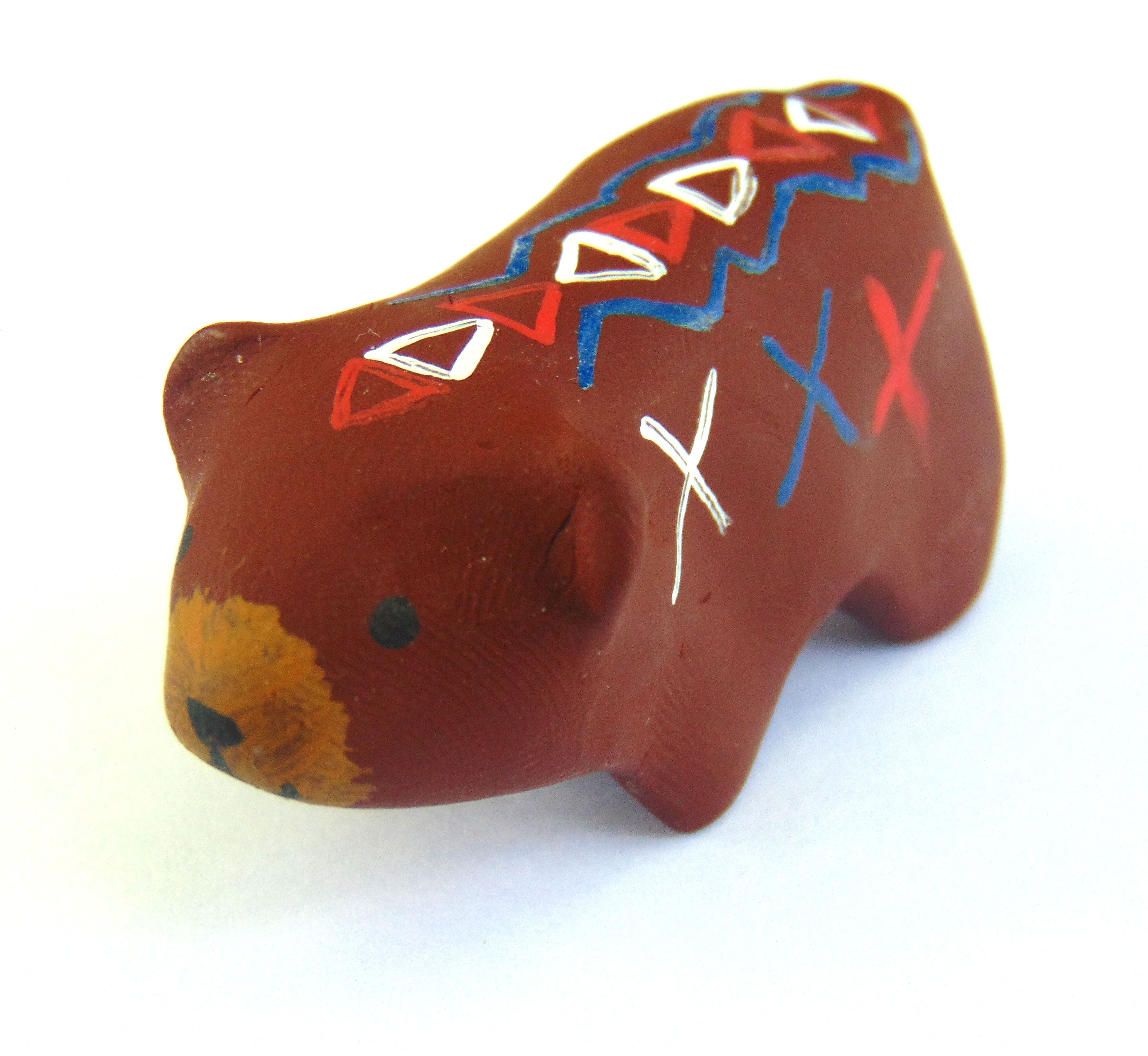 painted brown miniature totem tribal patterned sculpture polymer clay animal bear mini sculpey