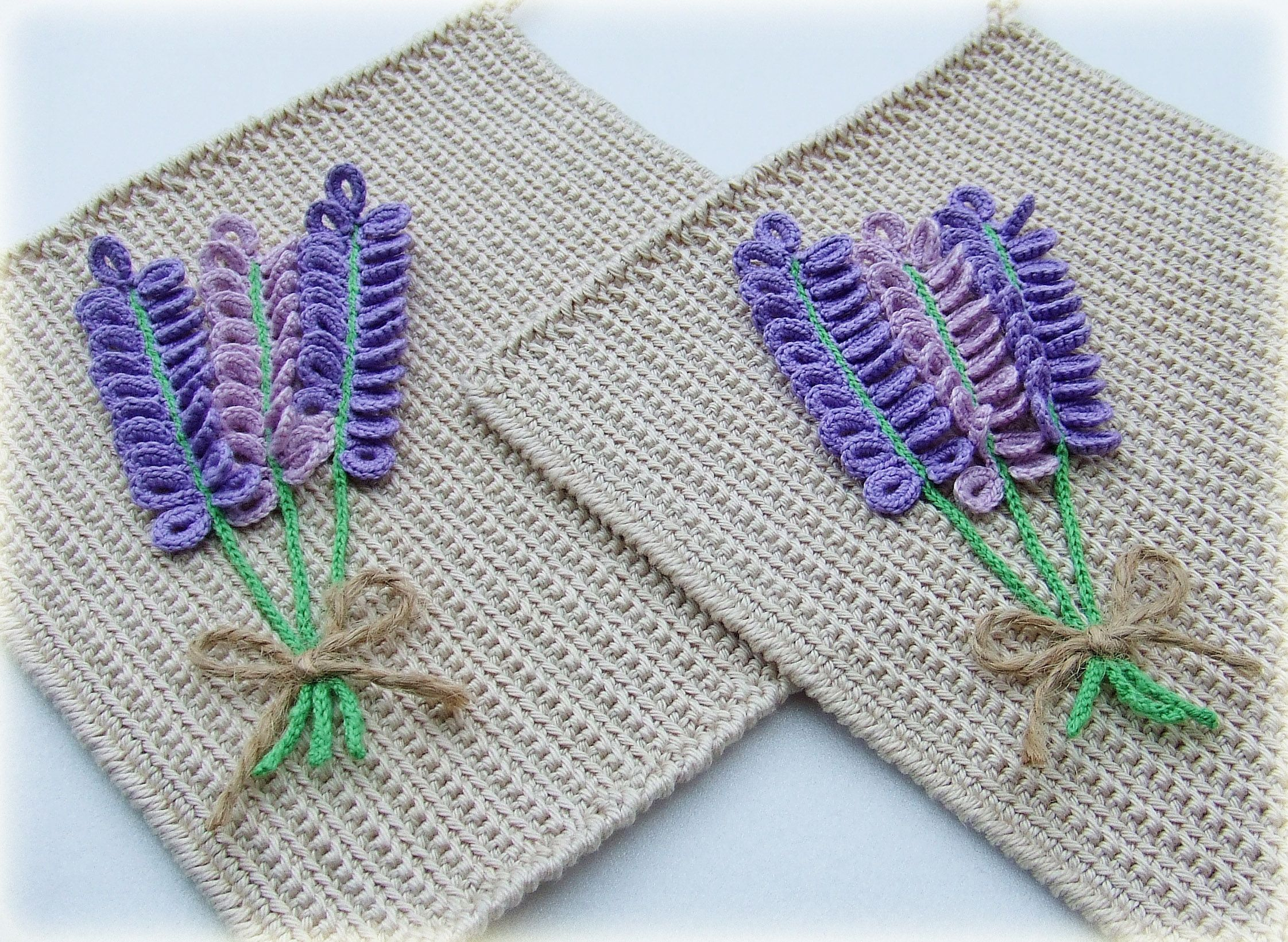 knitted lavender potholder