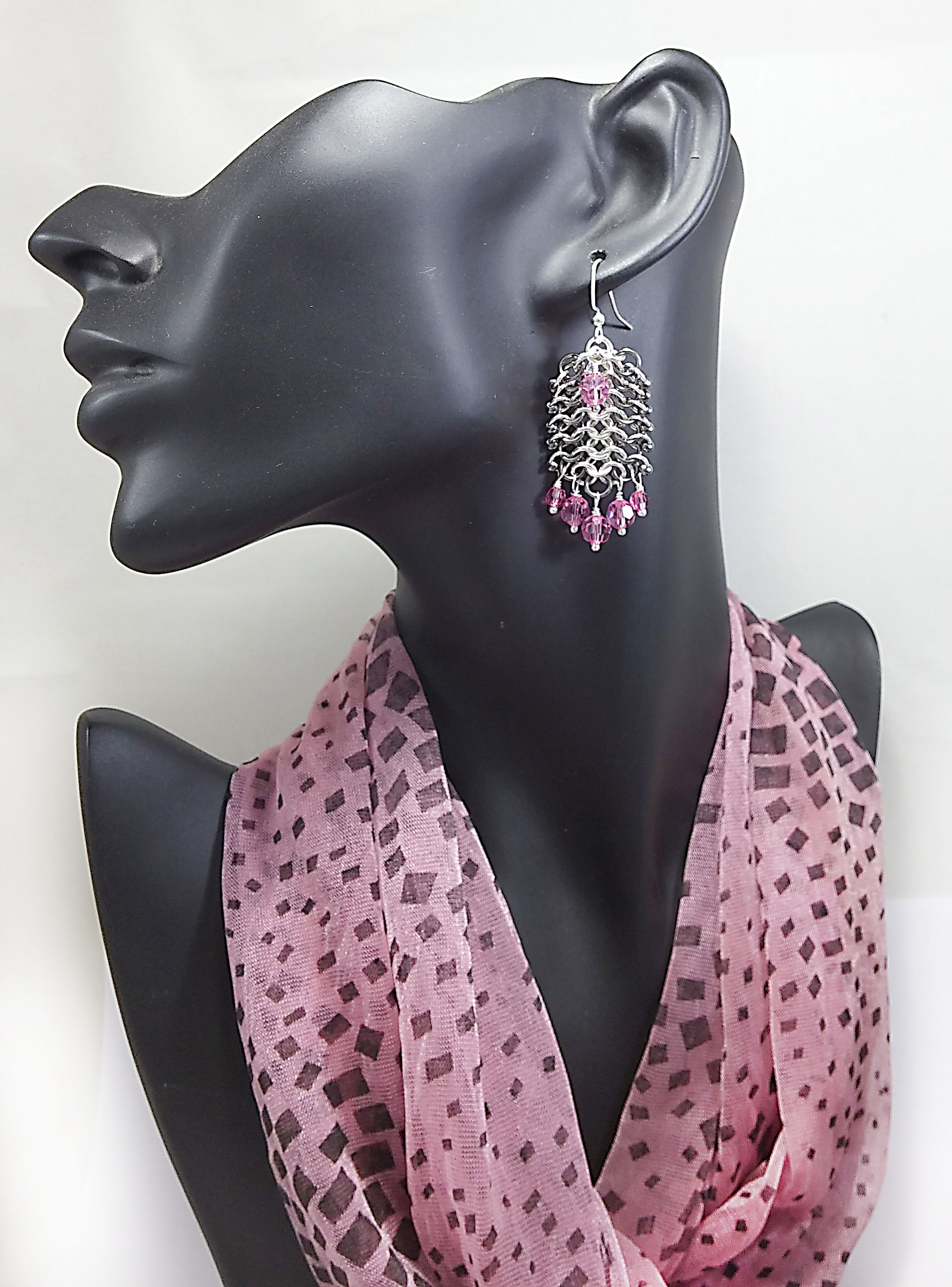 crystal unique earrings jewelry pink chainmaille mixmetal statement