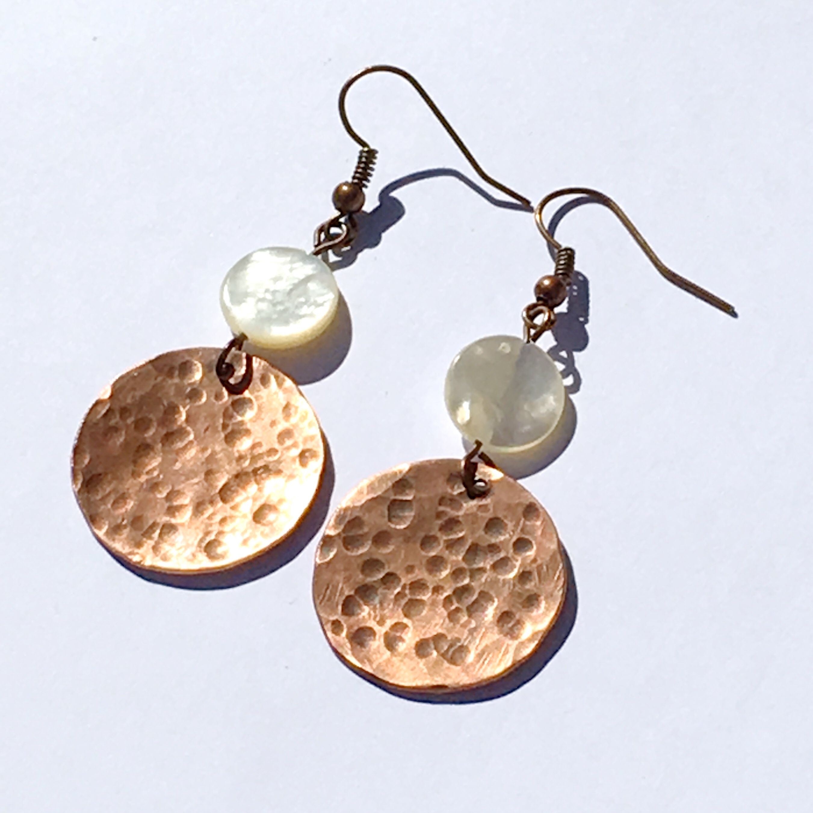 brown copper mother drops circle textured gift antiqued white handmade dangle pearl hammered woman moon handcrafted natural