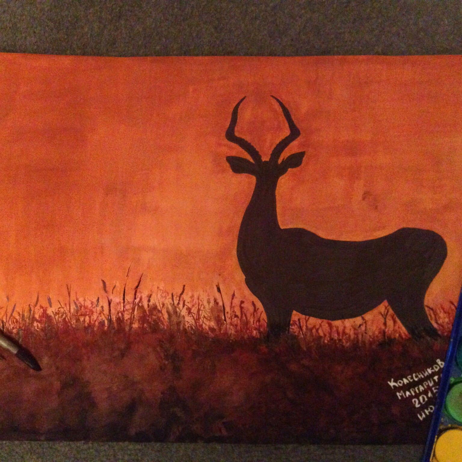 art painting interior deer watercolor