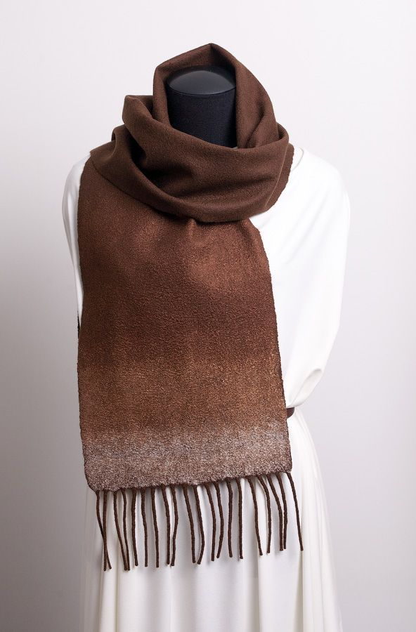 brown woman felt scarf winter fall sparkling autumn