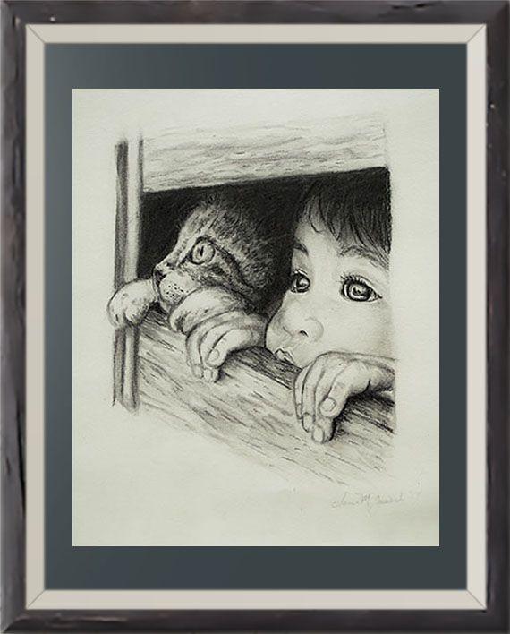 fineartprint walldecor catloversart catdrawing wallart print art
