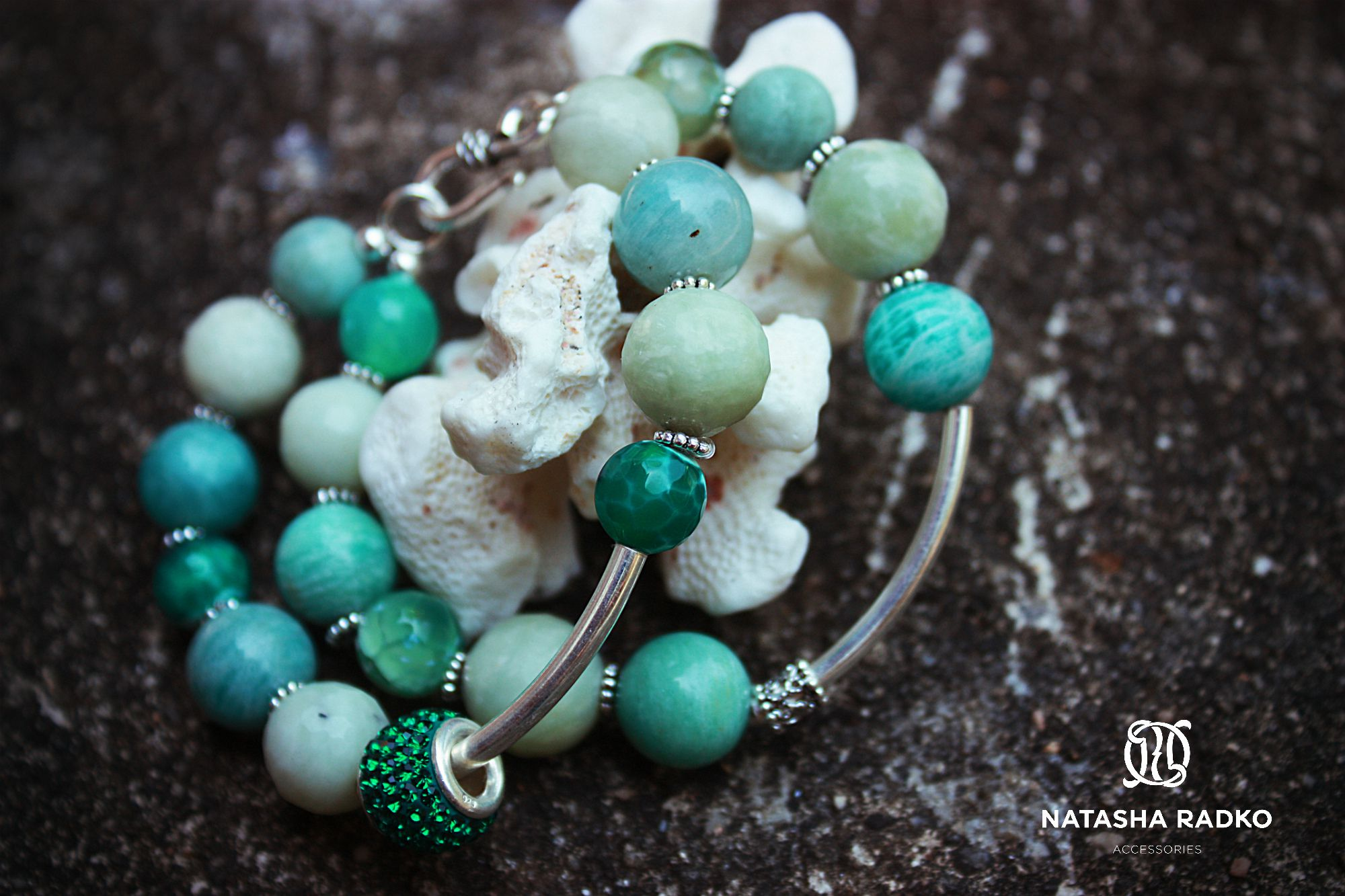 emerald agate wristlet jadeite amazonite
