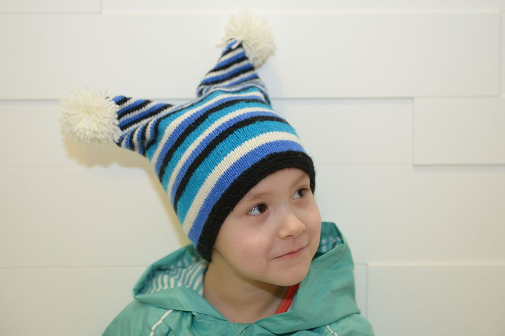 knitted striped hat boy