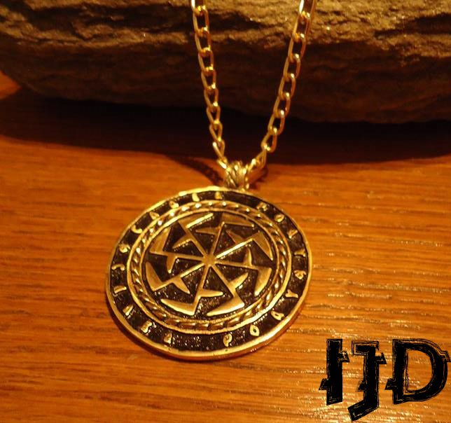 pendant gift rod gods mythology paganism kolovrat tribal medallion golden necklace slavic pagan