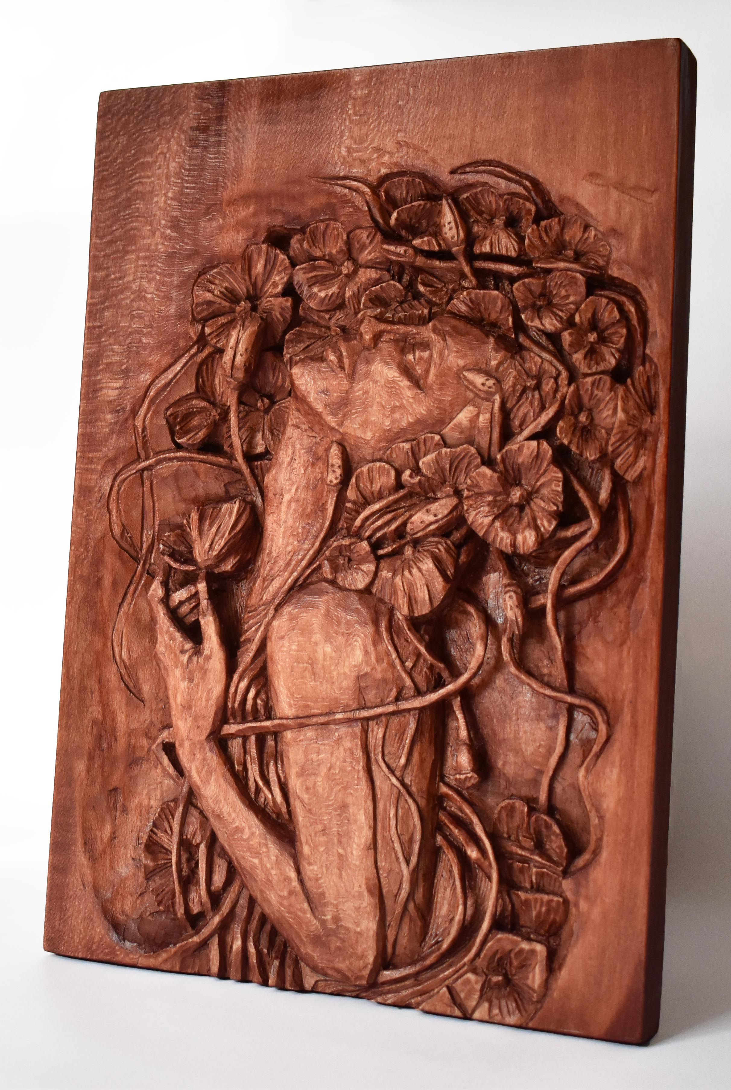 Nixie wood relief handmade carving basswood sculpture mahogany wine