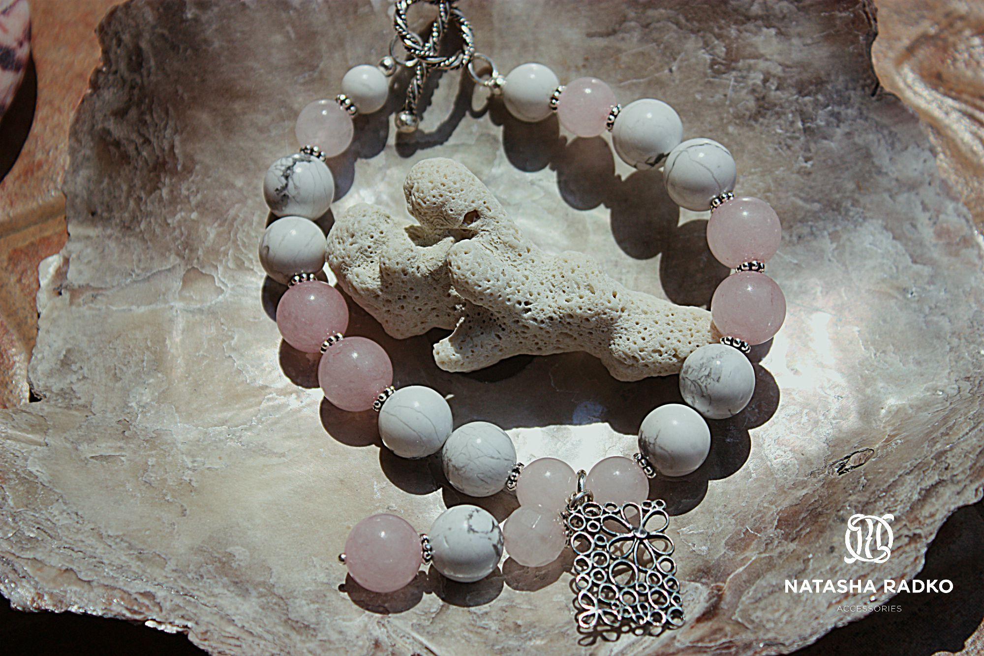 wristlet rose silver quartz cacholong