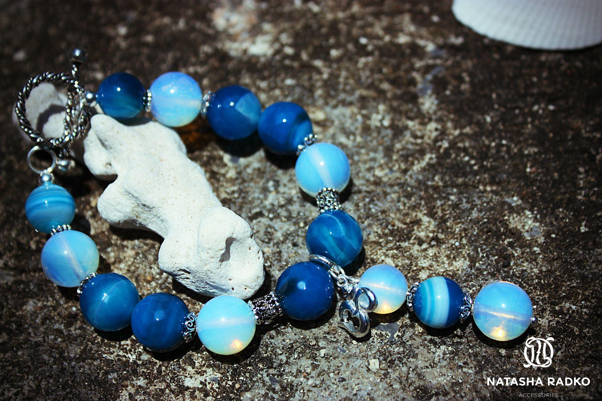 agate silver wristlet opal