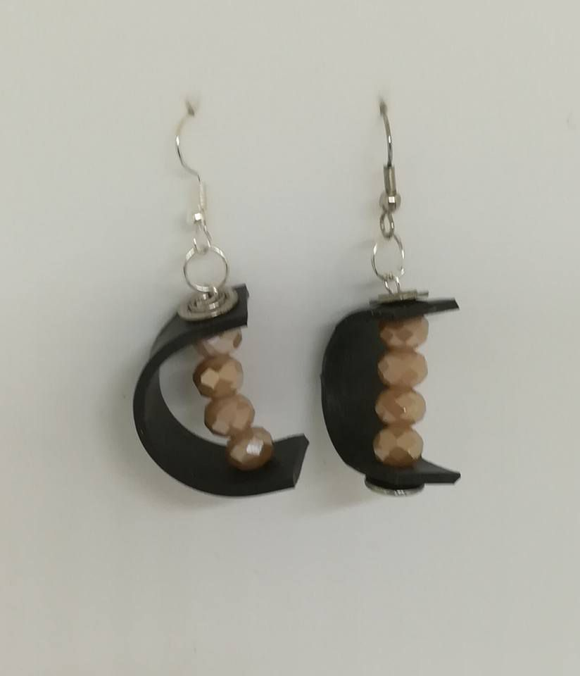 handmade boho art beads crystal style freeshipping innertube earings upcycling industrial