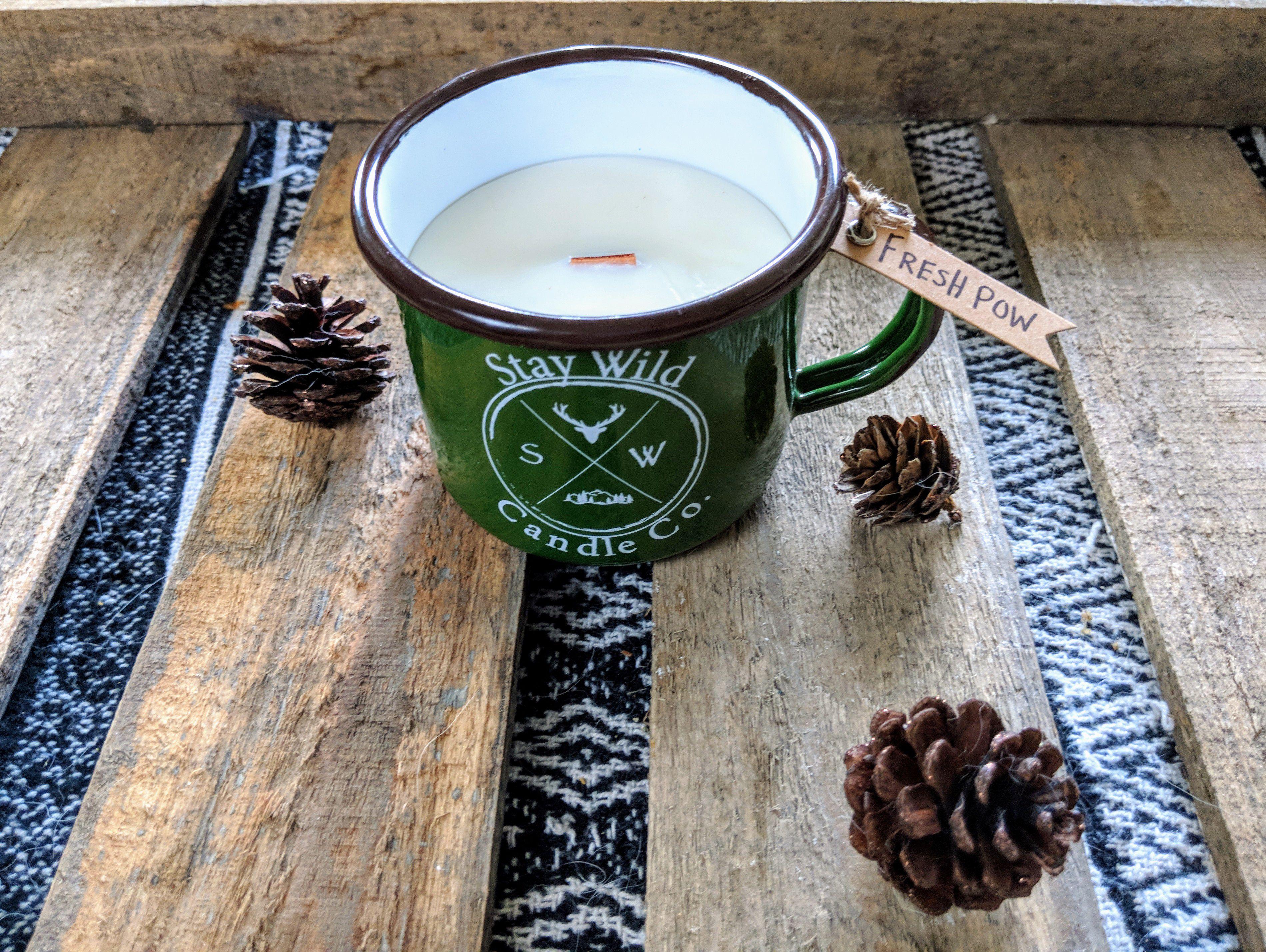 mug holiday candle camping wick soy christmas wood