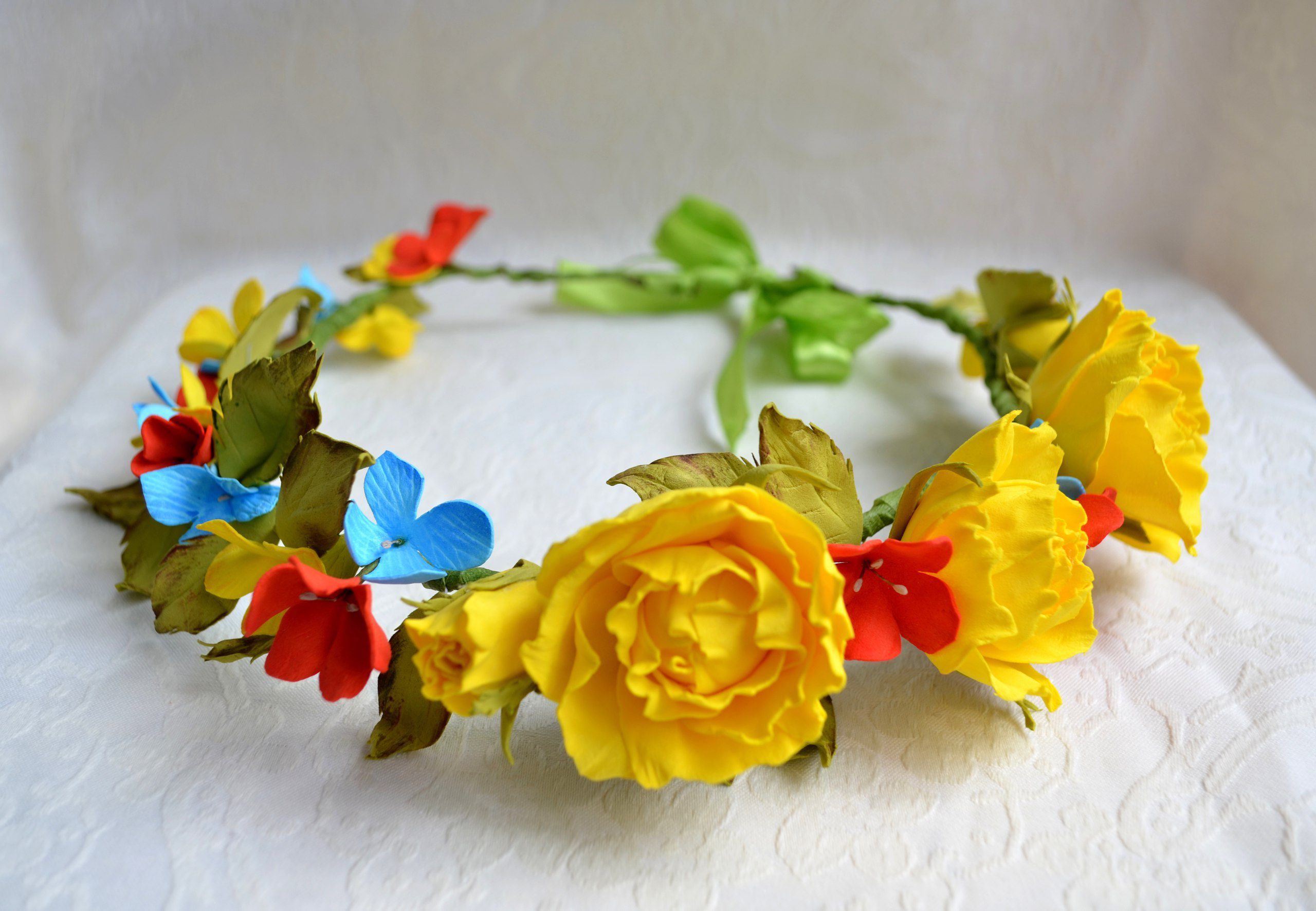 flowers romantic roses chaplet hairstyle