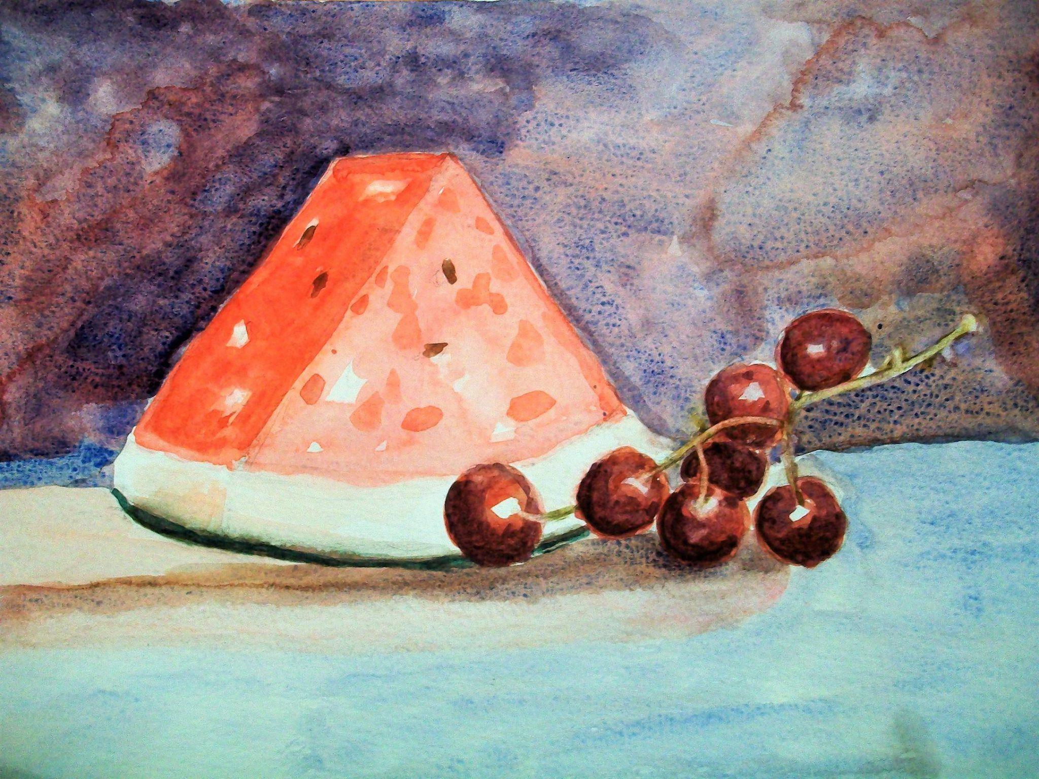 still grapes kitchen life decoration gift watermelon fruits wall watercolor summer painting art