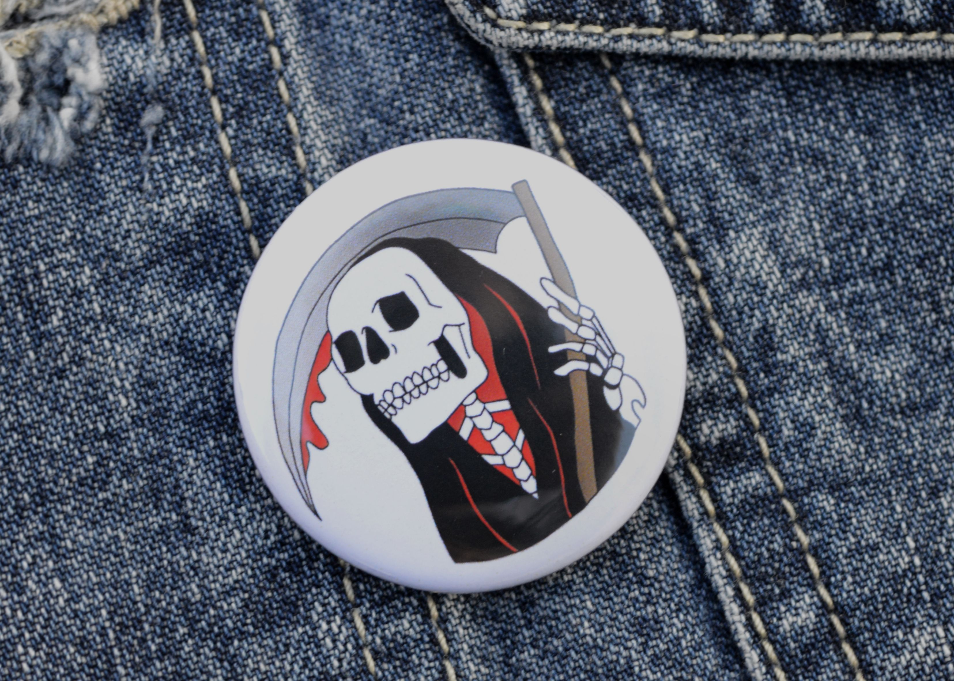 Halloween accessories gift pin tattooist grimreaper reaper grim handmade pinbadge badge alternative tattoo clothing art