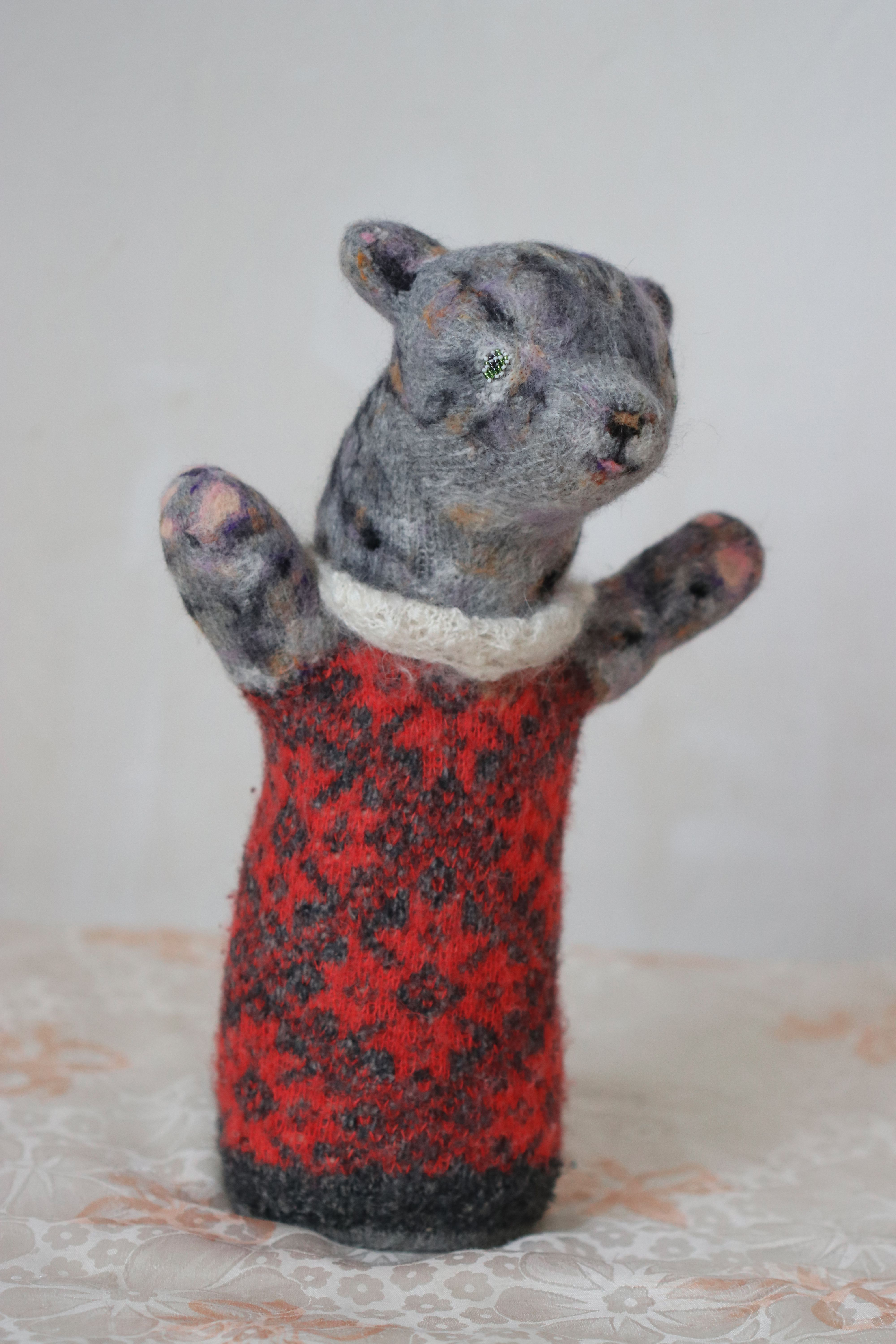 toy tabby cat baby gift stuffed kitty red sculpture animal collectible knitted orgonite plush