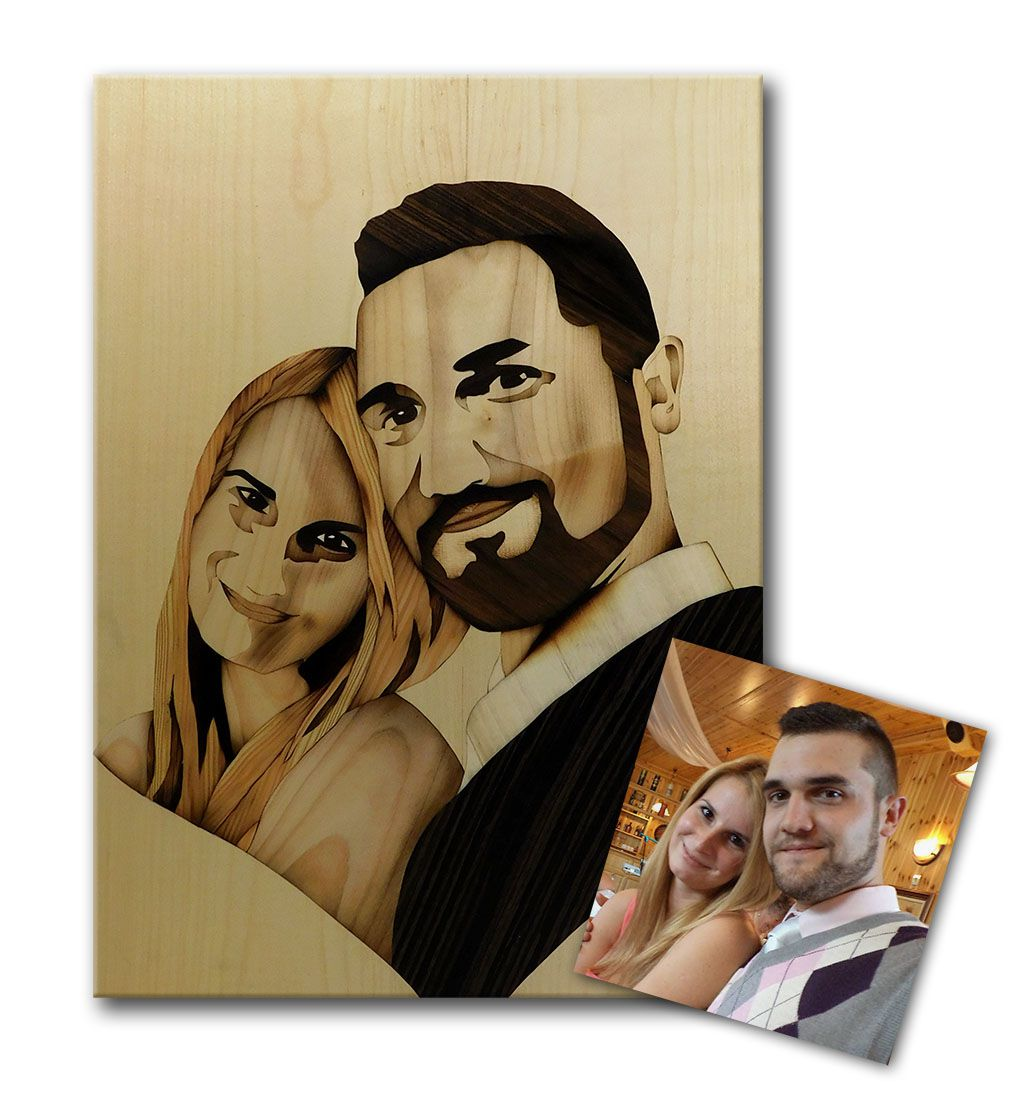 portrait unique gift couple marquetry custom heart handmade wood wedding love