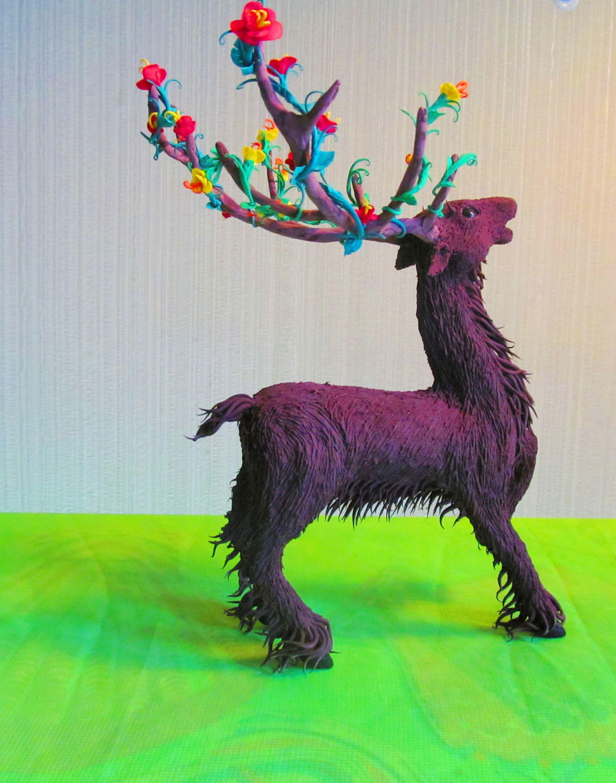 keeper velvety plastic statuette deer figurine handmade forest