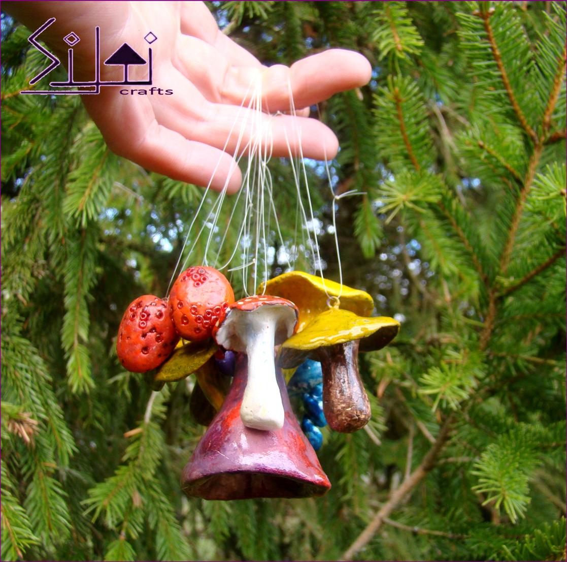 ornaments christmas decorations mushrooms handsculpted bohemian yule woodlands