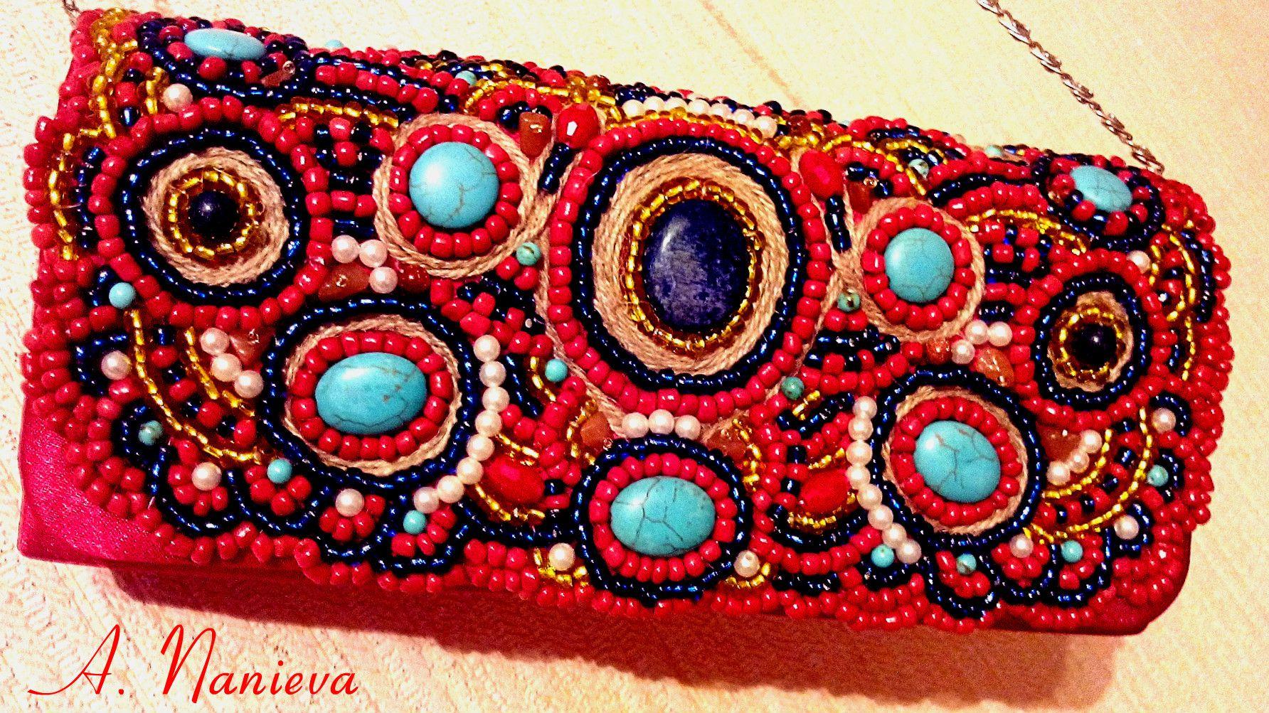 handmade turquoise clutch lapislazuli tigereye