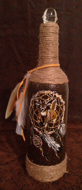 dream painted hand deer catcher recycling animals wildlife custom unique turkey bottles bottle art