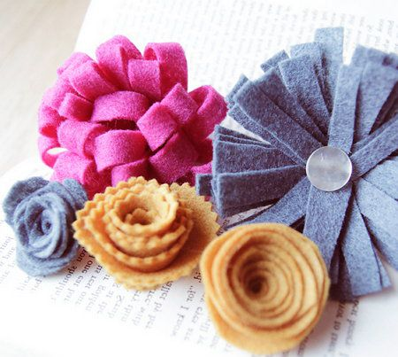 accessories flowers roses lilac felt