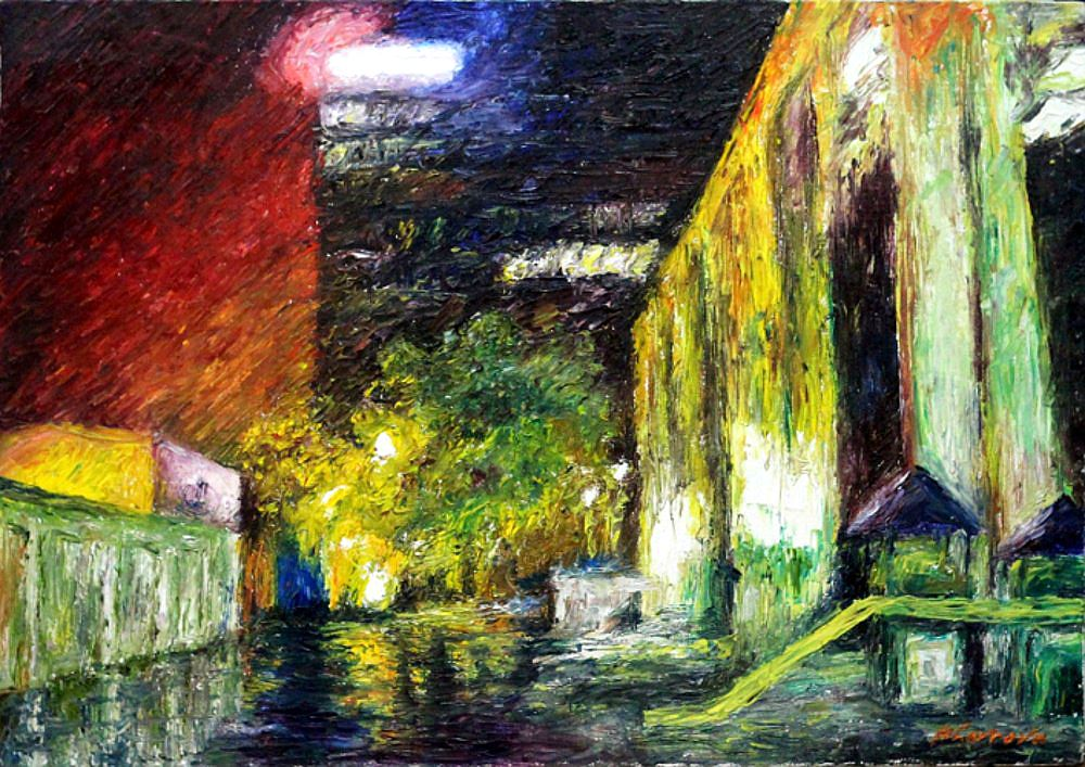 city oils painting art