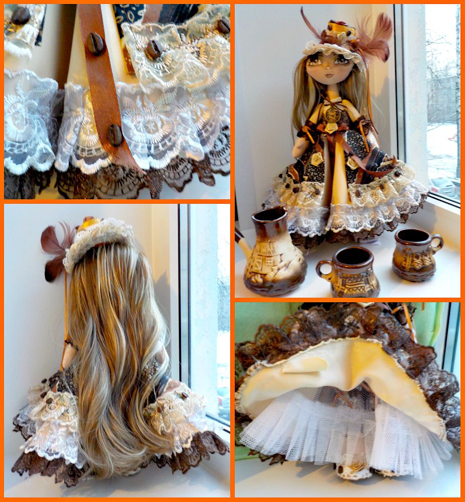 handmade doll coffee chocolate interior textile gifts cappucino original