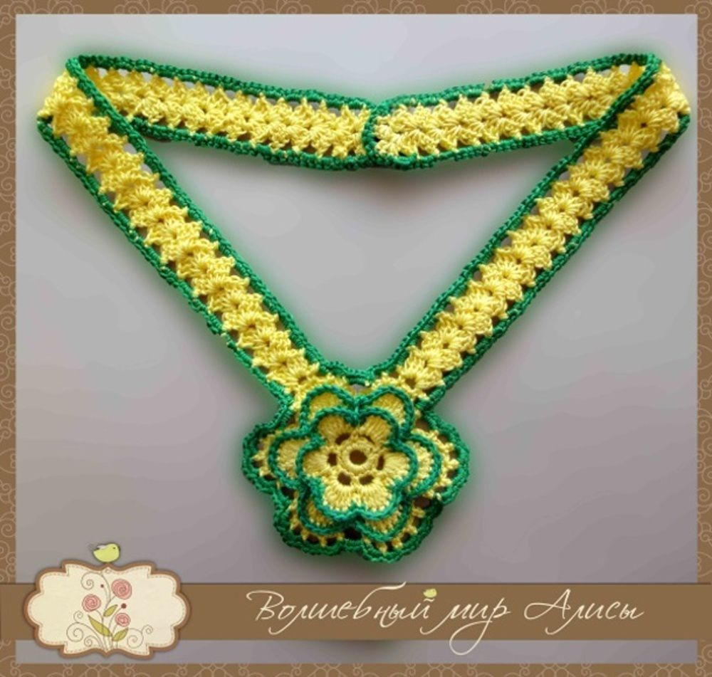 accessories yellow necklace knitting green