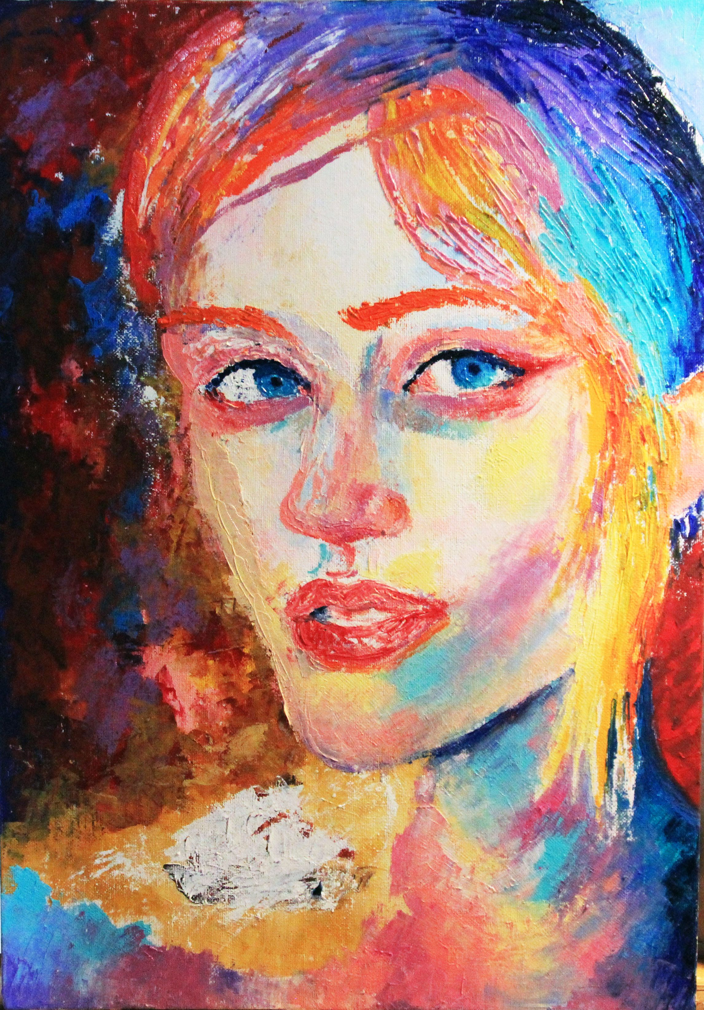 canvas woman portarit oilpainting people