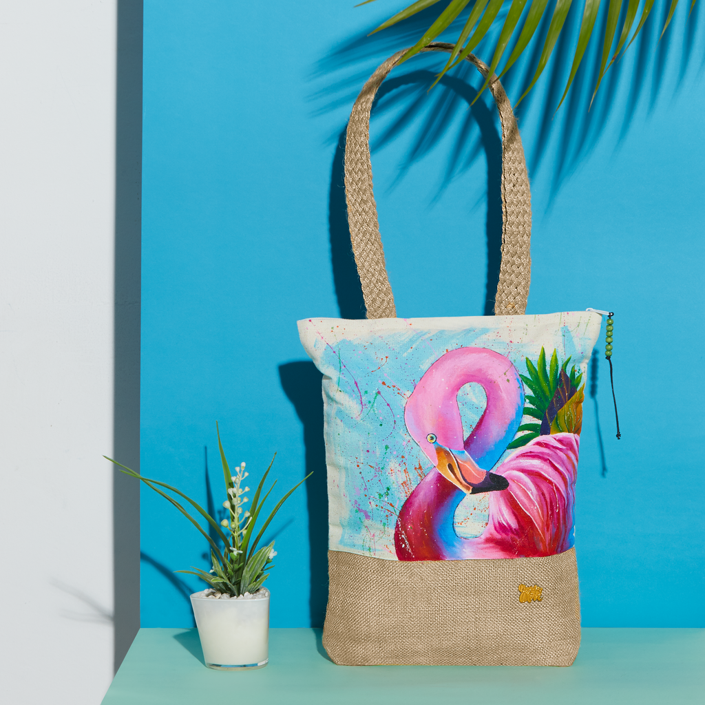 nature organic cotton handpainted totes birds bags fauna summer flamingo canvas handcrafted pouches